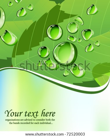 Green water drops background. All elements and textures are individual objects. Vector illustration scale to any size.