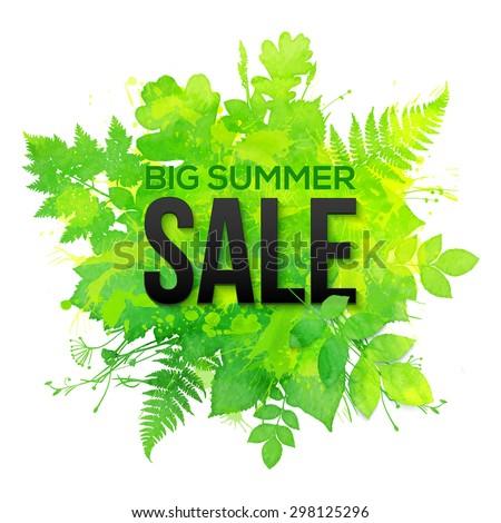 Green watercolor clovers vector summer sale banner - stock vector