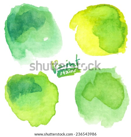 Green watercolor painted vector stains set - stock vector