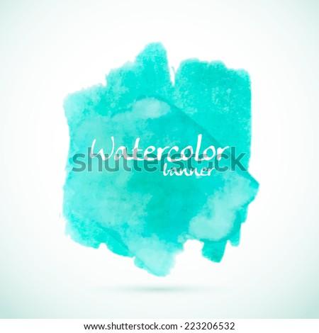 Green watercolor splash element for summer designs - stock vector