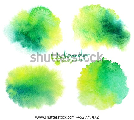 Green watercolor stains vector backgrounds set isolated on white - stock vector