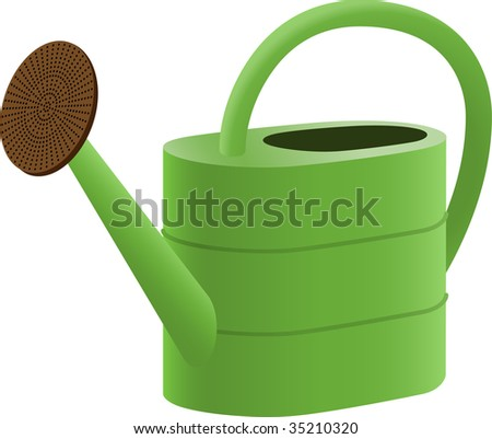 Green Watering Can - stock vector