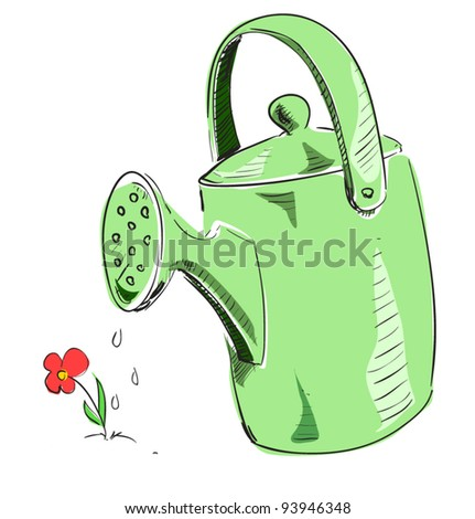 Green Watering can cartoon icon. Sketch fast pencil hand drawing illustration in funny doodle style - stock vector