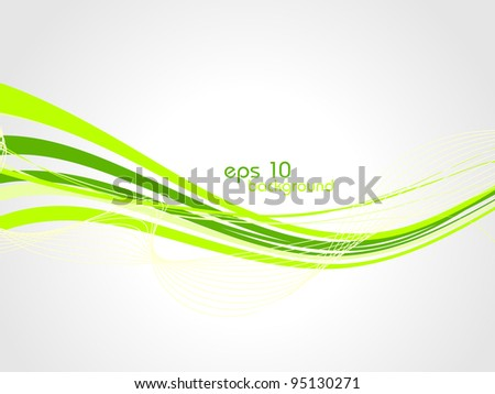 Green wave abstract background. Vector illustration.