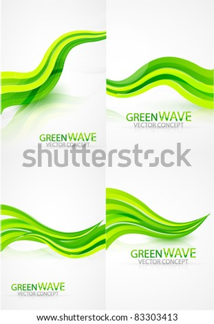 Green wave backgrounds - stock vector