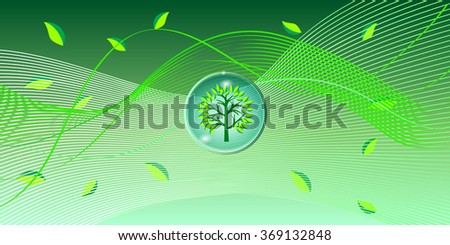 Green Wave Wallpaper With Tree Template Background For Web Page Banners Art