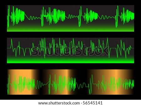 Green Waveforms on a black background. Vector.