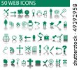 Green web icons set - stock vector