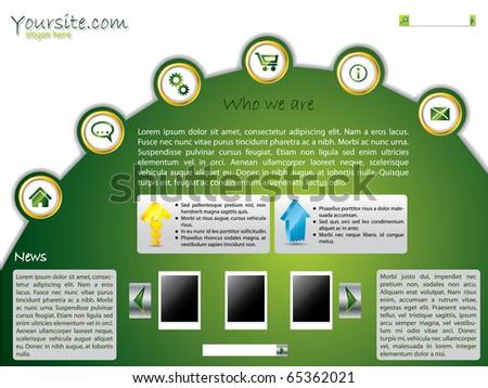 Green web template design - stock vector