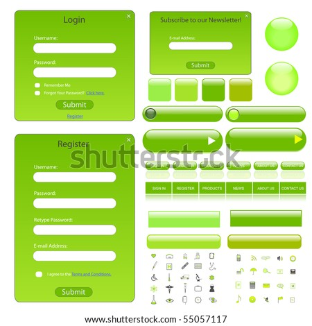 Green web template with forms, bars, buttons and many icons. - stock vector