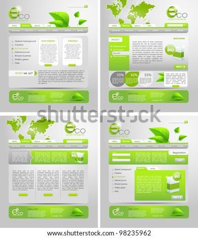 green website business templates set - stock vector