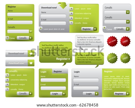Green website form set with buttons - stock vector