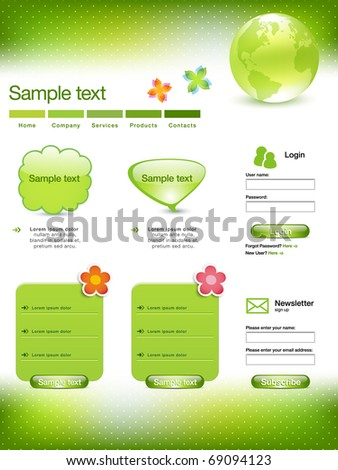 Green Website Template With Earth Abstract Illustration - stock vector