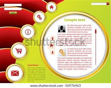 Green website template with red wave effect - stock vector