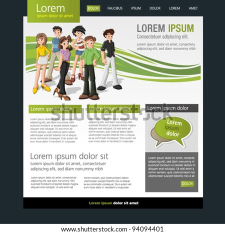 Youth website templates stock images royalty free images green website template with teenagers pronofoot35fo Gallery