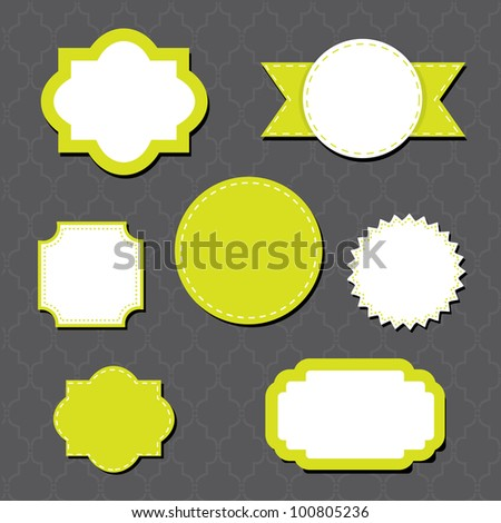 Green & White Labels - stock vector