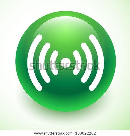green wifi icon - stock vector