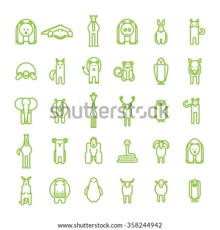Green Wild animal icons set on white background / Animals Vector illustration / Simple Design Animals - stock vector