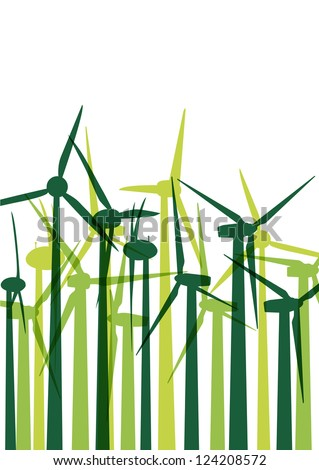Green wind electricity generators grass ecology concept illustration background vector - stock vector
