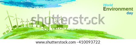 Green Wind Turbine Solar Energy Panel World Environment Day Flat Vector Illustration - stock vector