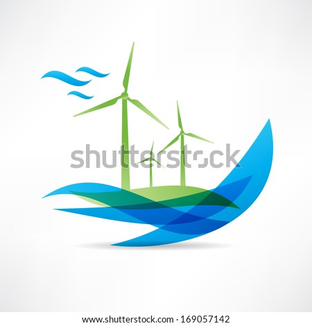 green windmill near the water icon - stock vector