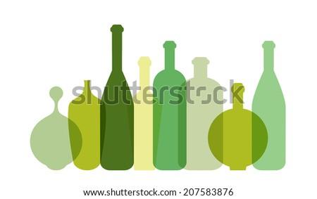 Green wine bottle illustration. Vector.  - stock vector