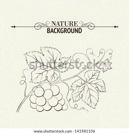 Green wine leaves over sepia background. Vector illustration. - stock vector