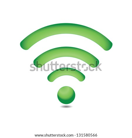 Green wireless icon - stock vector