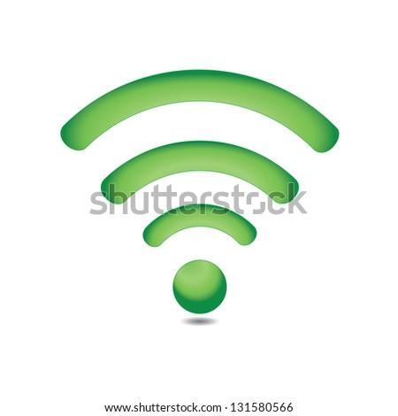 Green wireless icon - stock vector
