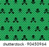 Green with White Polka Dots and Black Rock Musician Skull and Cross Bones Pattern Background Fabric or Wrapping Paper Design - stock vector
