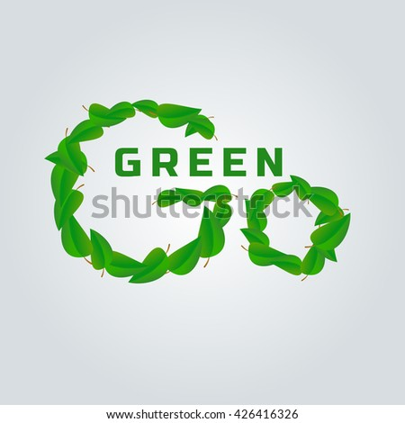 Green world concept. Green world saving. Green planet logo. Eco world. Environmental problem. Nature saving. Eco friendly. Save the nature concept. Bio world. Green leaf. Go Green. Vector illustration