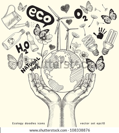 Green world concept. Tree on the earth in hands . Ecology doodles icons vector set. - stock vector