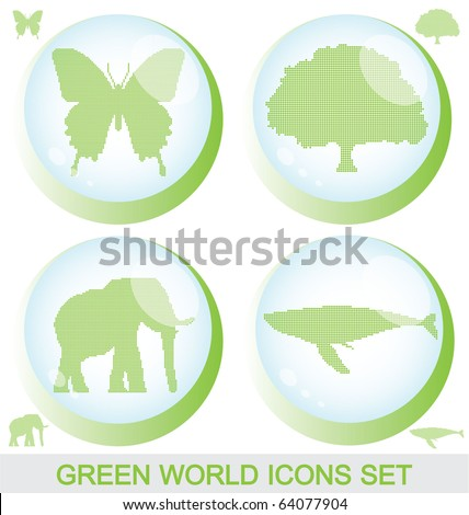 Green world glossy buttons with silhouettes inside and editable isolated silhouettes. - stock vector