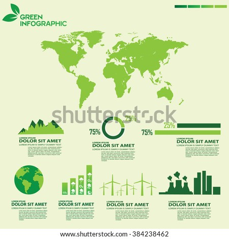 Green world infographic  - stock vector