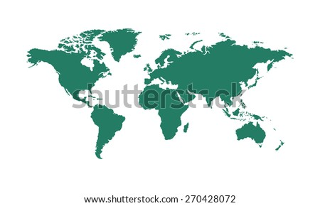 Green world map vector - stock vector
