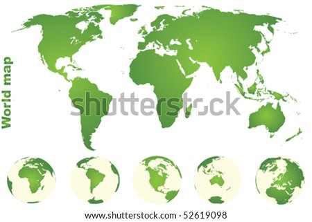 Green world map with Earth globes - stock vector