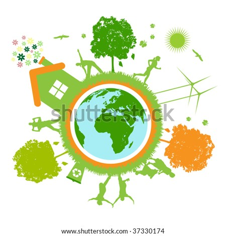 green world , planet - stock vector