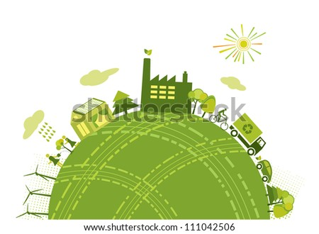 Green world/planet concept - stock vector