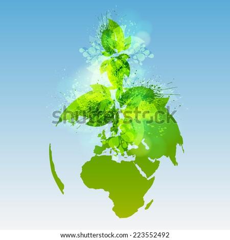 Green world, vector - stock vector