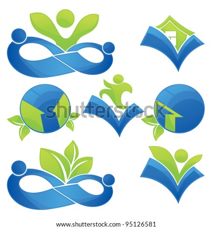 green world, vector collection of  homes, people, communication and ecological symbols