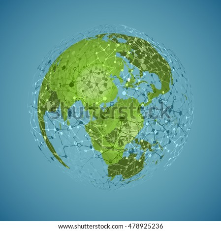 Green world with connections, vector illustration