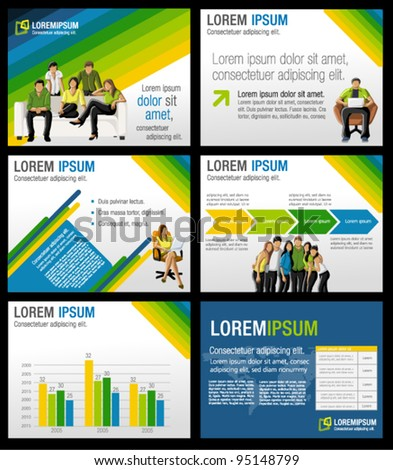 Green, yellow and blue template for advertising brochure with business people - stock vector