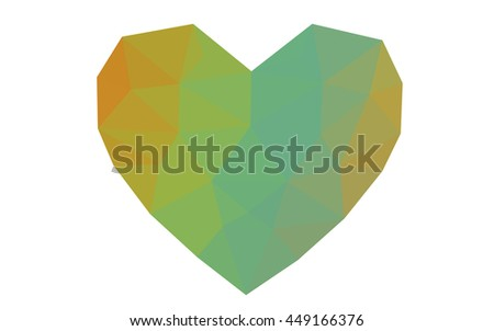 Green, yellow heart isolated on white background. Geometric rumpled triangular low poly origami style gradient graphic illustration. Vector polygonal design for your business.