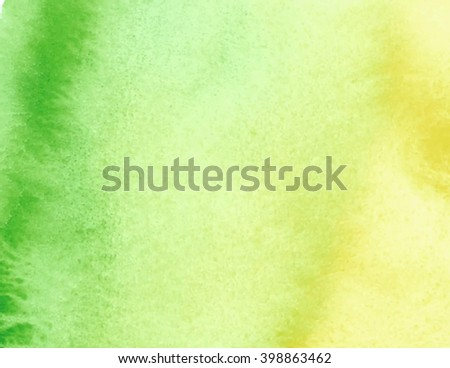 Green yellow watercolor hand drawn smudges paper grain texture vector banner for decoration, design, web. Colorful pastel abstract brush paint background for template, print, scrapbook, label, cover - stock vector