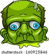 Green zombie's head. Isolated on white background. - stock vector