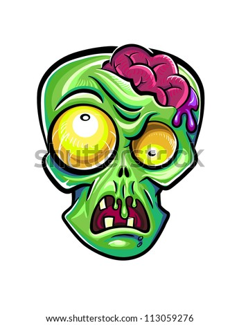 Green zombie's head with brains. Isolated on white background. - stock vector