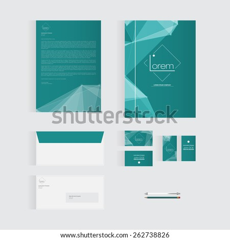 Greenish Blue Stationery Template Design for Your Business | Modern Vector Design - stock vector