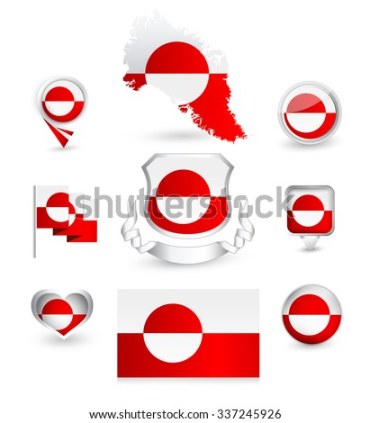 Greenland Flag Collection. Vector icon set.