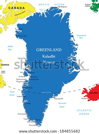 Greenland map - stock vector