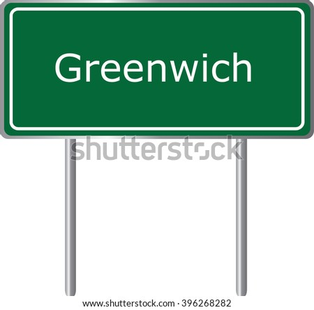 Greenwich , Connecticut , road sign green vector illustration, road table, USA city - stock vector
